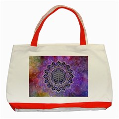 Flower Of Life Indian Ornaments Mandala Universe Classic Tote Bag (red)