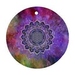 Flower Of Life Indian Ornaments Mandala Universe Round Ornament (two Sides)