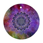 Flower Of Life Indian Ornaments Mandala Universe Round Ornament (Two Sides)  Back