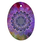 Flower Of Life Indian Ornaments Mandala Universe Oval Ornament (Two Sides) Front