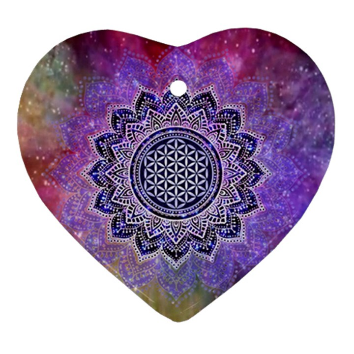 Flower Of Life Indian Ornaments Mandala Universe Heart Ornament (2 Sides)