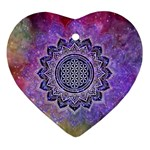 Flower Of Life Indian Ornaments Mandala Universe Heart Ornament (2 Sides) Back