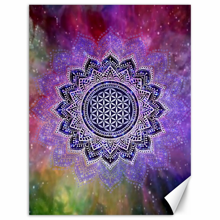 Flower Of Life Indian Ornaments Mandala Universe Canvas 12  x 16