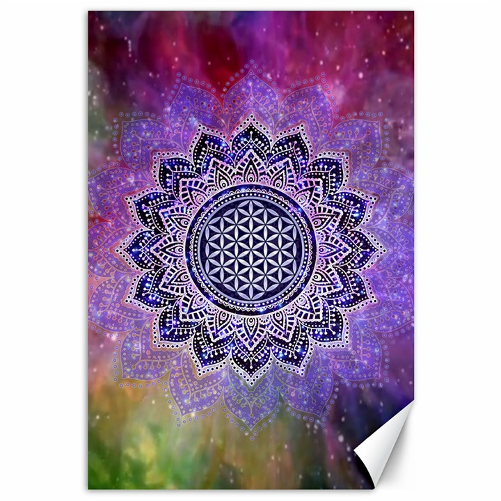 Flower Of Life Indian Ornaments Mandala Universe Canvas 12  x 18
