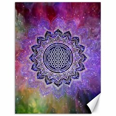 Flower Of Life Indian Ornaments Mandala Universe Canvas 18  X 24