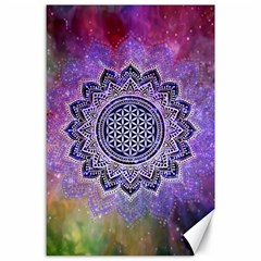 Flower Of Life Indian Ornaments Mandala Universe Canvas 24  X 36