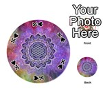 Flower Of Life Indian Ornaments Mandala Universe Playing Cards 54 (Round)  Front - SpadeK