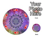 Flower Of Life Indian Ornaments Mandala Universe Playing Cards 54 (Round)  Front - HeartK