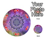 Flower Of Life Indian Ornaments Mandala Universe Playing Cards 54 (Round)  Front - DiamondA