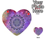 Flower Of Life Indian Ornaments Mandala Universe Playing Cards 54 (Heart)  Front - Heart7