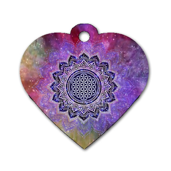 Flower Of Life Indian Ornaments Mandala Universe Dog Tag Heart (Two Sides)