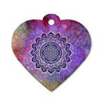 Flower Of Life Indian Ornaments Mandala Universe Dog Tag Heart (Two Sides) Back