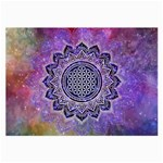 Flower Of Life Indian Ornaments Mandala Universe Large Glasses Cloth Front