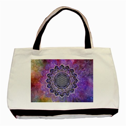 Flower Of Life Indian Ornaments Mandala Universe Basic Tote Bag (Two Sides)