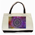Flower Of Life Indian Ornaments Mandala Universe Basic Tote Bag (Two Sides) Back