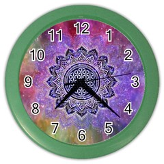Flower Of Life Indian Ornaments Mandala Universe Color Wall Clocks