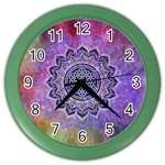 Flower Of Life Indian Ornaments Mandala Universe Color Wall Clocks Front