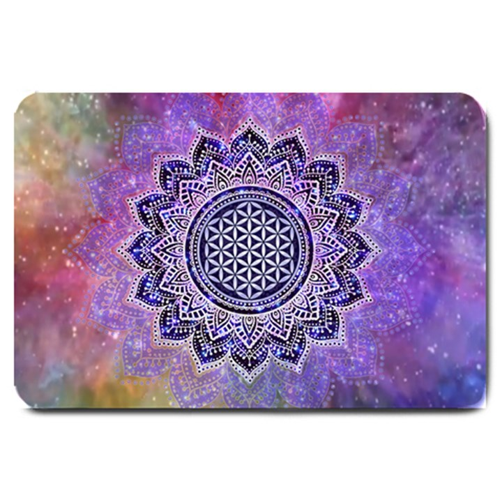 Flower Of Life Indian Ornaments Mandala Universe Large Doormat