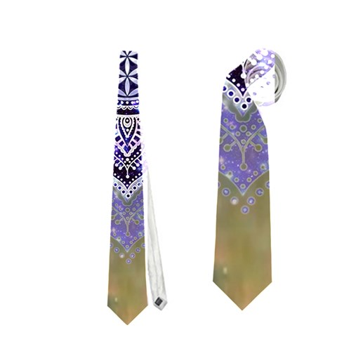Flower Of Life Indian Ornaments Mandala Universe Neckties (One Side)