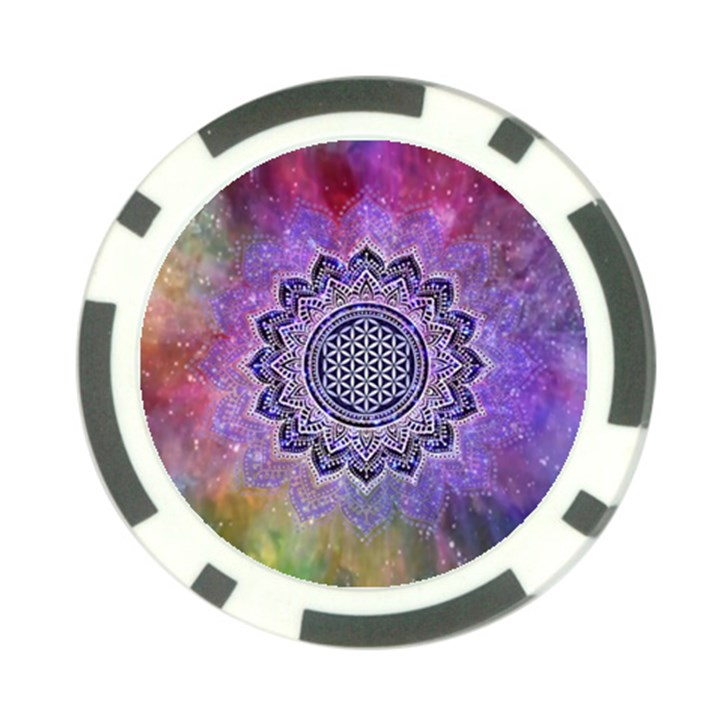 Flower Of Life Indian Ornaments Mandala Universe Poker Chip Card Guards