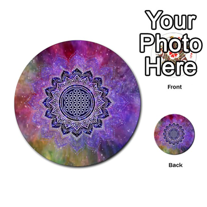 Flower Of Life Indian Ornaments Mandala Universe Multi-purpose Cards (Round)