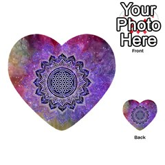 Flower Of Life Indian Ornaments Mandala Universe Multi Purpose Cards (heart)