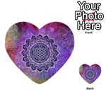Flower Of Life Indian Ornaments Mandala Universe Multi-purpose Cards (Heart)  Back 7