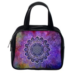 Flower Of Life Indian Ornaments Mandala Universe Classic Handbags (one Side)