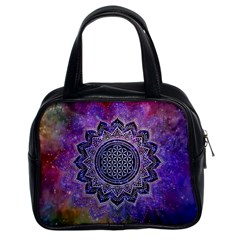 Flower Of Life Indian Ornaments Mandala Universe Classic Handbags (2 Sides)