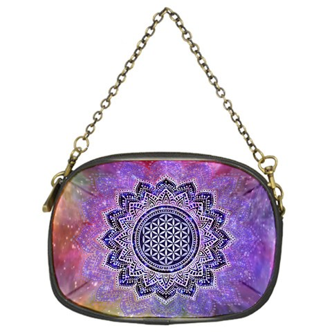 Flower Of Life Indian Ornaments Mandala Universe Chain Purses (One Side)