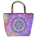 Flower Of Life Indian Ornaments Mandala Universe Bucket Bags Back