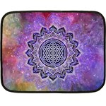 Flower Of Life Indian Ornaments Mandala Universe Double Sided Fleece Blanket (Mini)  35 x27 Blanket Front