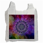 Flower Of Life Indian Ornaments Mandala Universe Recycle Bag (One Side) Front