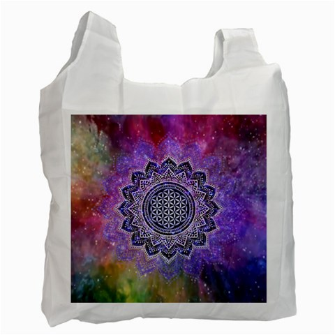 Flower Of Life Indian Ornaments Mandala Universe Recycle Bag (Two Side)