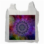 Flower Of Life Indian Ornaments Mandala Universe Recycle Bag (Two Side)  Back