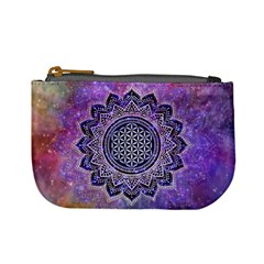 Flower Of Life Indian Ornaments Mandala Universe Mini Coin Purses