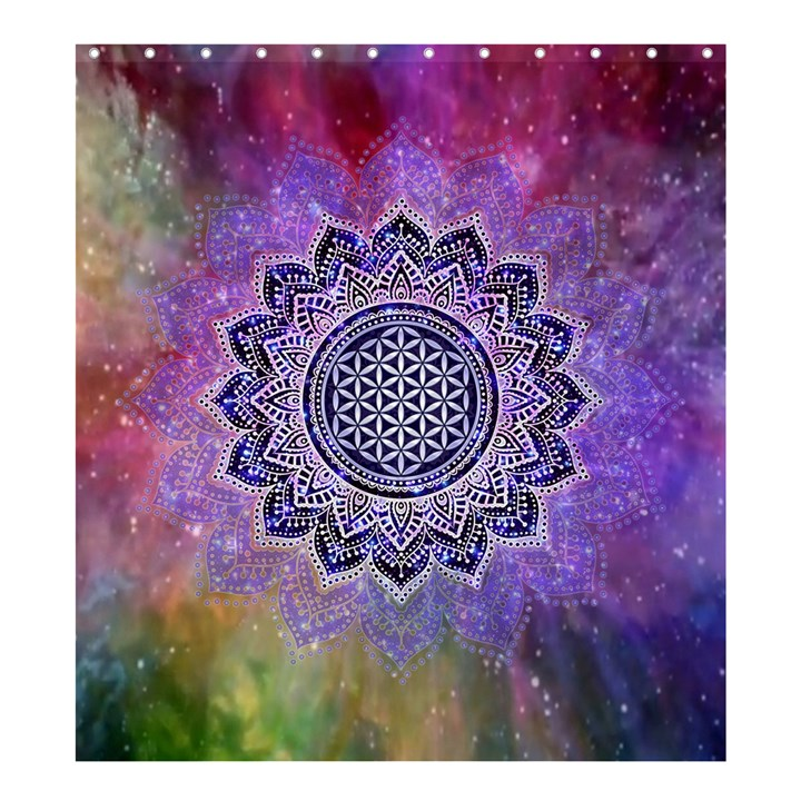 Flower Of Life Indian Ornaments Mandala Universe Shower Curtain 66  x 72  (Large)