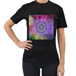 Flower Of Life Indian Ornaments Mandala Universe Women s T-Shirt (Black) Front