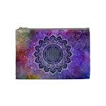Flower Of Life Indian Ornaments Mandala Universe Cosmetic Bag (Medium)  Front