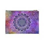 Flower Of Life Indian Ornaments Mandala Universe Cosmetic Bag (Large)  Back