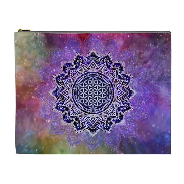Flower Of Life Indian Ornaments Mandala Universe Cosmetic Bag (XL)