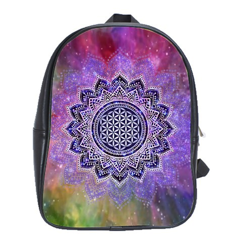 Flower Of Life Indian Ornaments Mandala Universe School Bags(Large)