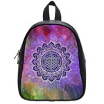 Flower Of Life Indian Ornaments Mandala Universe School Bags (Small)  Front