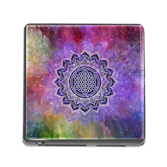 Flower Of Life Indian Ornaments Mandala Universe Memory Card Reader (Square)
