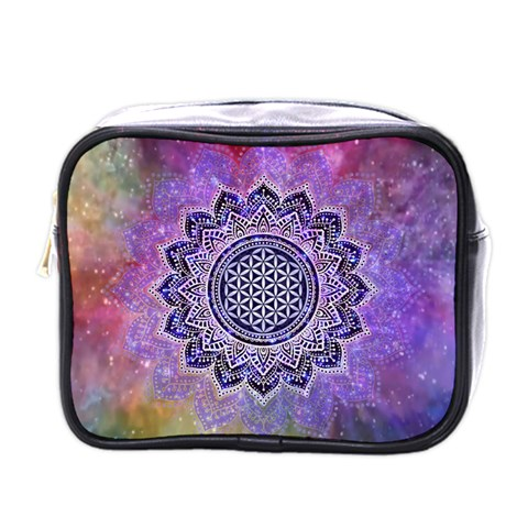 Flower Of Life Indian Ornaments Mandala Universe Mini Toiletries Bags