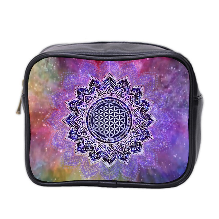 Flower Of Life Indian Ornaments Mandala Universe Mini Toiletries Bag 2-Side