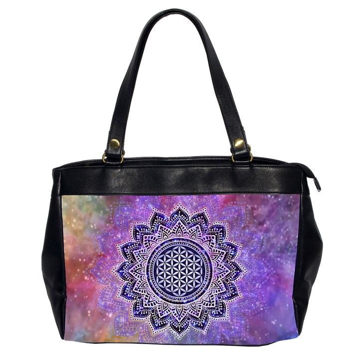 Flower Of Life Indian Ornaments Mandala Universe Office Handbags (2 Sides)