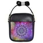 Flower Of Life Indian Ornaments Mandala Universe Girls Sling Bags Front