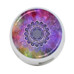 Flower Of Life Indian Ornaments Mandala Universe 4 Port Usb Hub (one Side)