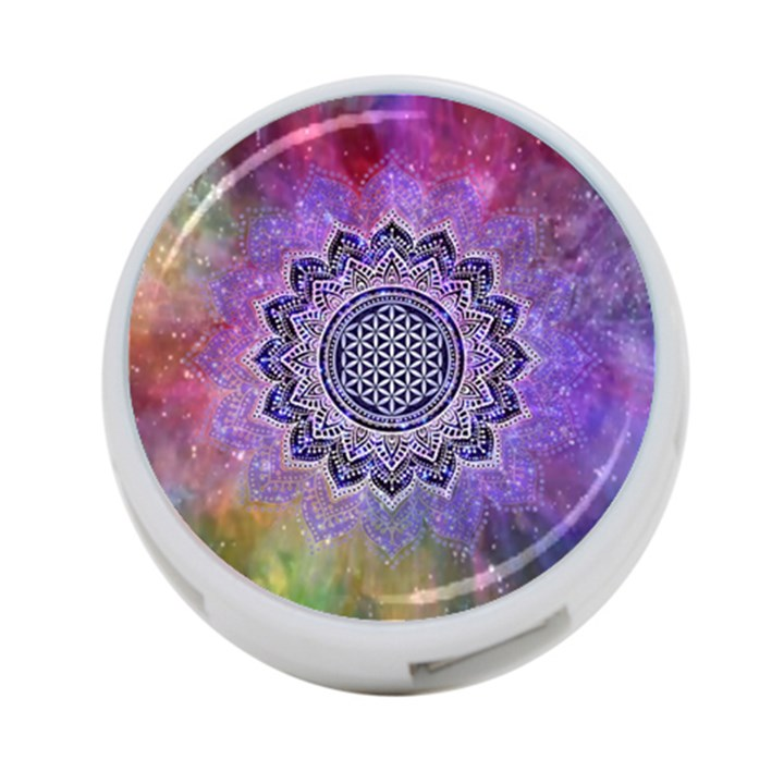 Flower Of Life Indian Ornaments Mandala Universe 4-Port USB Hub (One Side)